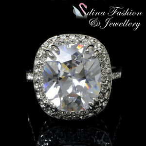 18K-White-amp-Rose-Gold-Plated-Made-With-Swarovski-Element-Large-Cushion-Cut-Ring