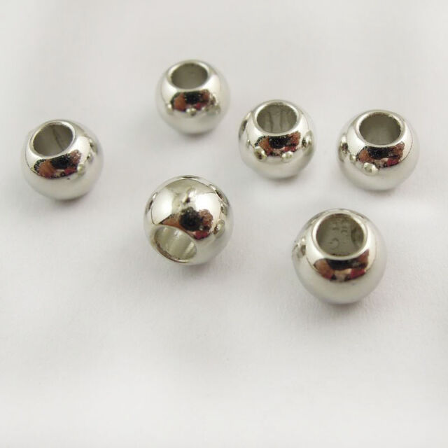 Rhodium Plated Tone CCB Fashion Round Beads Charm Craft Jewelry Findings Hot