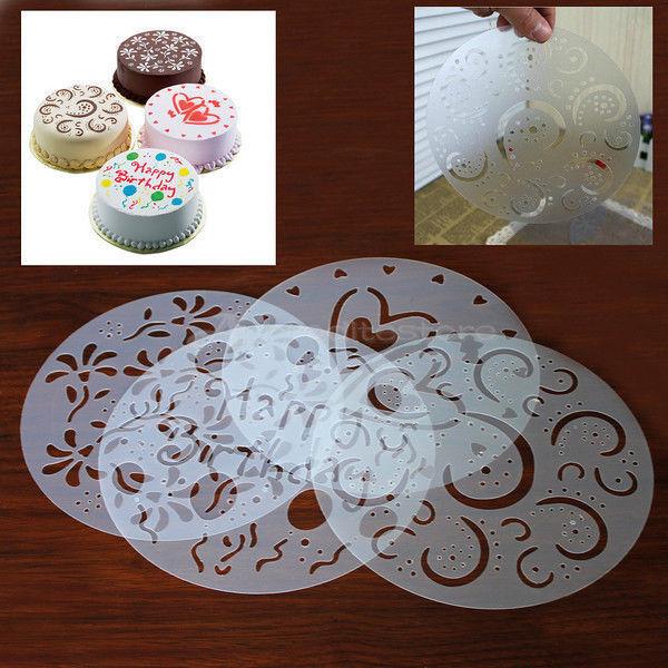 4 Pcs Round Cake Fondant craft Decorating Cutter Flower Heart Sugarcraft Mold