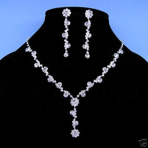 Wedding Dangle Dangly Crystal Necklace Earrings Set