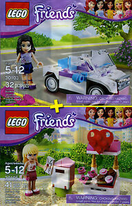 LEGO Friends #30103, #30105 - Emmas Cabriolet + Stephanies Mailbox - NEW