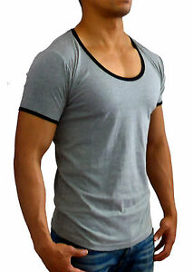 f4225acf NEW MENS PLAIN GREY MARLE SCOOP NECK T SHIRT SLIM FIT CASUAL GYM ...