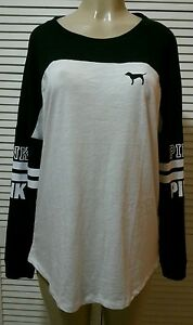 aa38cd67555b8 Details about NEW! Victoria's Secret Pink OPEN BACK VARSITY CREW TEE Size  Large