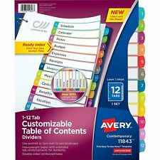 Avery 12 Tab Dividers For 3 Ring Binders Customizable Table Of Contents Mul