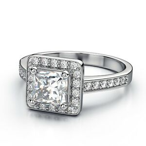 White-Gold-Plated-Princess-Cut-Square-Wedding-Bridal-Ring-Women-Ring-Size-8-R3