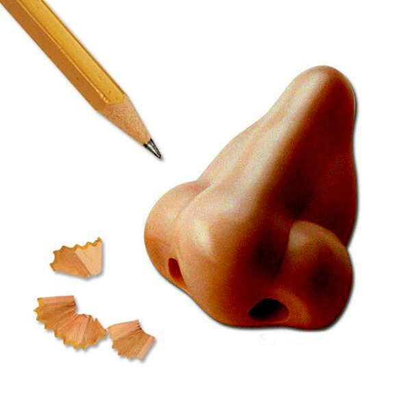 Novelty Fun Gag Gift Light Skin Tone Plastic Nose Shaped Pencil Sharpener