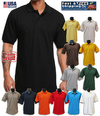 Men's Classic Polo Style 100% Cotton Blended Short Sleeve Solid Pique Polo Shirt
