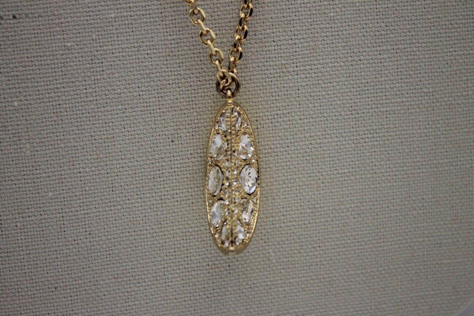 Ann Taylor NWT Lemon Wedge Enamel And Rhinestone Necklace 16.5 inch
