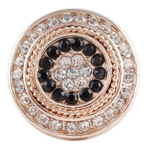 Gold Black Clear Rhinestone 18-20mm Charm For Ginger Snaps Magnolia Vine