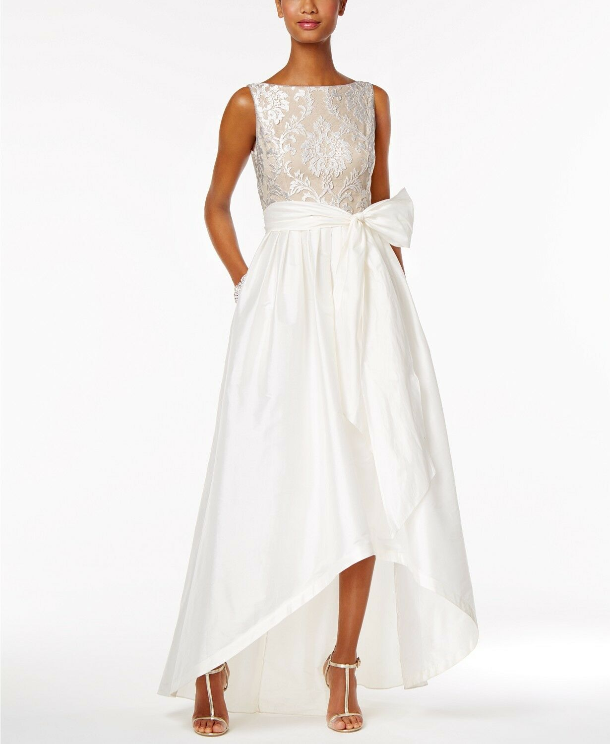 Adrianna Papell Embroidered Taffeta High-Low Gown  249 Size 8 A 701 NEW