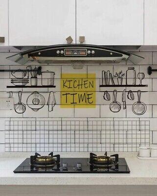 New 29 X16 Oil Proof Kitchen Time Black White Yellow Backsplash Protector Decal Ebay