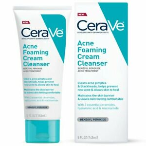 CeraVe Acne Foaming Cream Face Cleanser, Facial Cleanser for Oily Skin, 2 pack