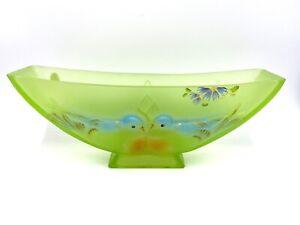 Fenton-Love-Birds-Uranium-Glass-Bowl-Planter-Vase-Nancy-Fenton-Signed-Marked