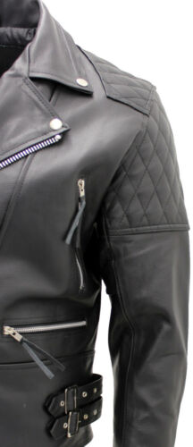 Hommes En Veste Noir Cuir Vachette Motard De Pou Authentique FZxqX5q