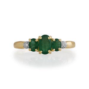 Gemondo-9kt-Oro-Giallo-0-83-Ct-Anello-Di-Smeraldo-E-Diamanti