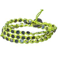 Neon Yellow Green Cord Silver Batu Dot Jewelry Triple Wrap Cord Toggle Bracelet