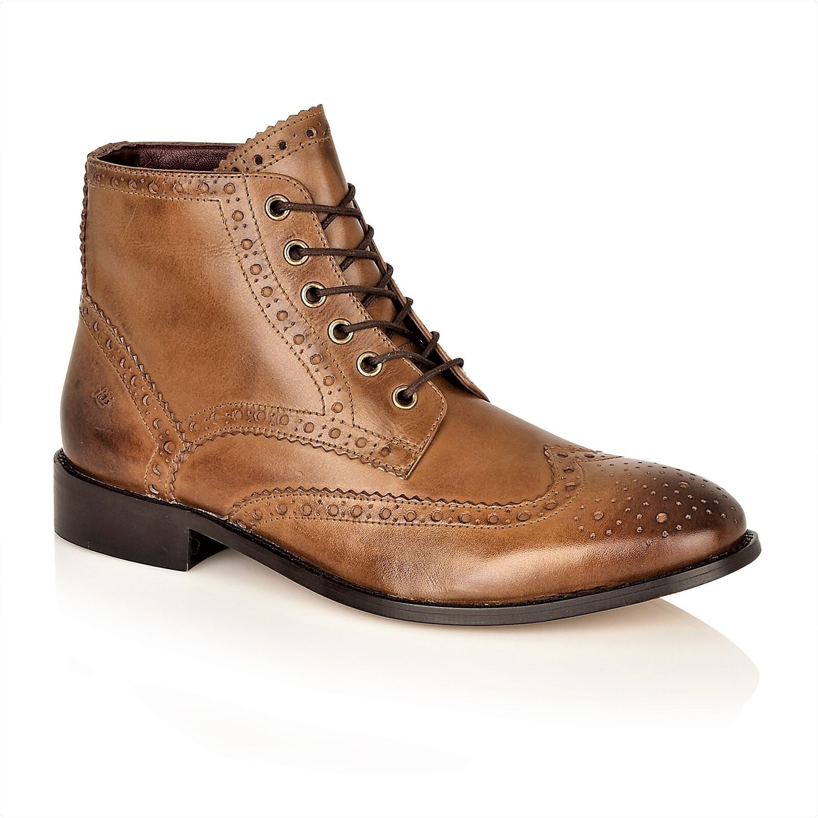 London Brogues Gatsby HI Lace Up Formal Mens Leather Boots Chestnut