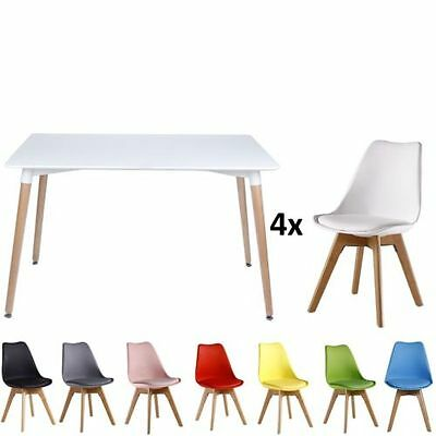 Hot 80cm Dining Coffee Table 4 Chairs Soft PU Padded Wooden Legs Eiffel Inspired