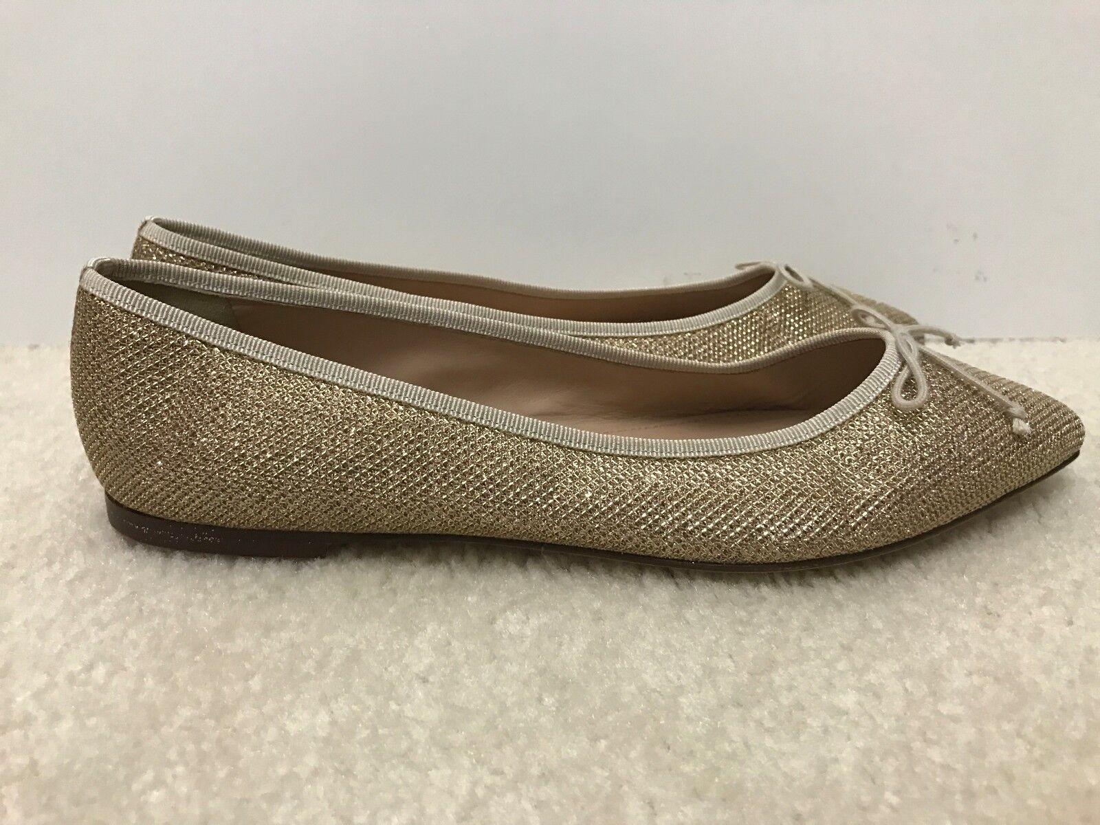 New Women J.Crew Gemma Glitter Flats, Metallic gold Sand, Size 8.5