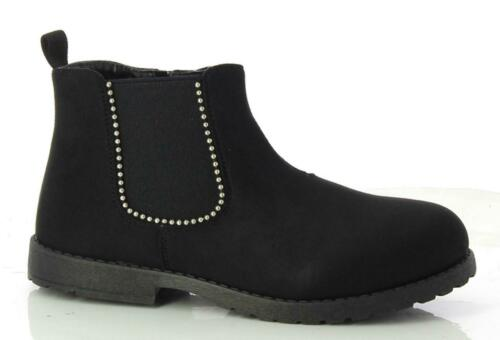 Girls Child Kids Boys Low Block Heel Zip Up Studded Chelsea Ankle Boots Shoes Si