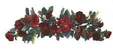 BURGUNDY SWAG ~ Silk Wedding Flowers Roses Hydrangea Arch Gazebo Centerpieces