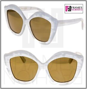 1321148b4d96 GUCCI LIPS 0117 Cat Eye White Pearl Gold Mirrored Sunglasses GG0117S ...