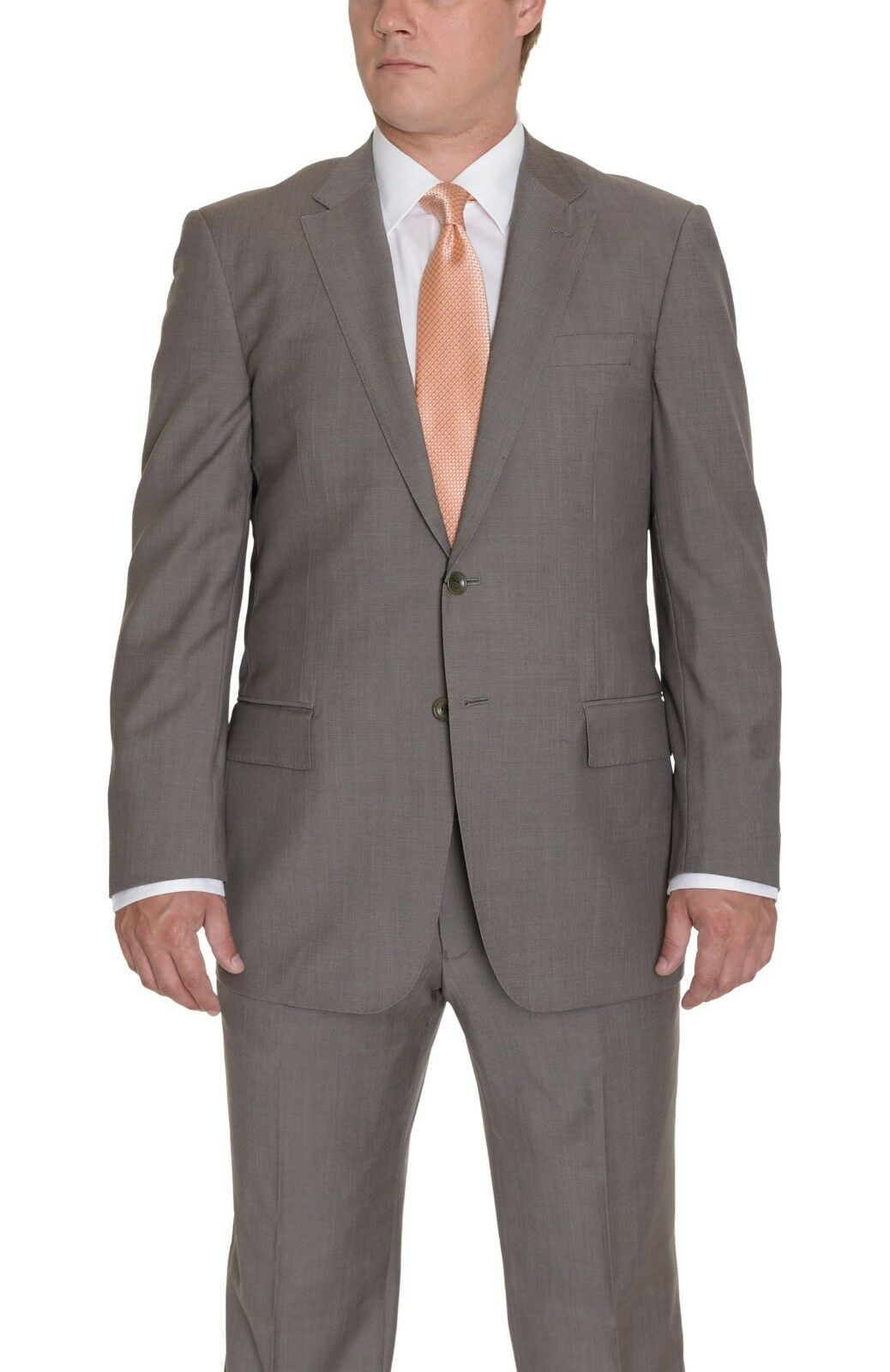 999 Enzo Solid Braun Taupe Two Button 100% Super 150's Wool Suit