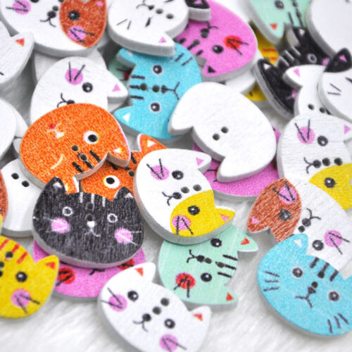 50//100Pcs Mix Animal Cat 2 Holes Wood Sewing Buttons scrapbooking WB345