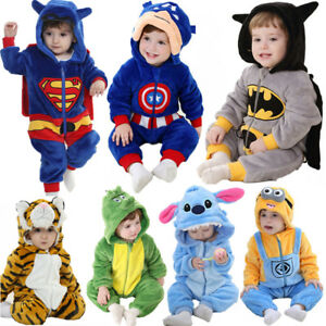 64ab5cb81e33 Baby Boy Animal Romper Fleece One Piece Pajamas Outfit Costume Party ...