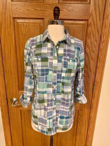 LL Bean Madras Plaid Shirt Sz S Button Down Cotton