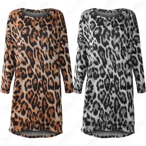 Neu Damen Überdimensional Übergröße Pullover Kleid Tiermuster Leopard Aufdruck