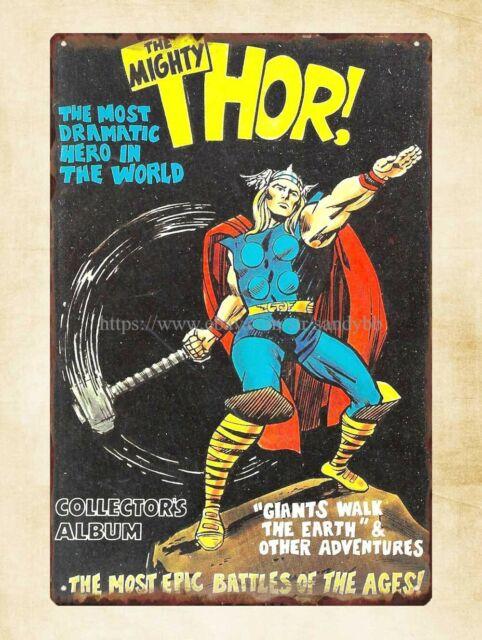 US Seller - man cave mancave wall decor Marvel comics Thor metal tin sign
