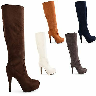 WOMENS PLATFORM STILETTO HIGH HEEL LADIES ZIP UP SUEDE LONG BOOTS SHOES SIZE