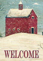 Welcome Winter Red Barn Snowy Landscape Warren Kimble Sm Toland Flag