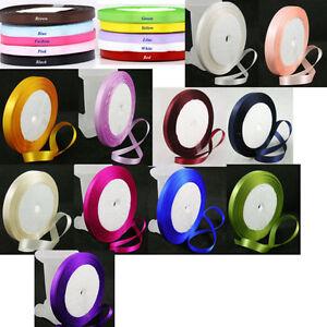 25-Yard-Roll-of-Satin-Ribbon-10mm-wide-Choose-Colour-UK-Seller