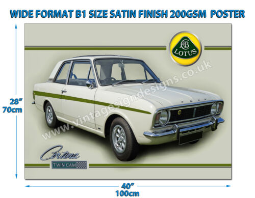 FORD LOTUS CORTINA TWIN CAM WIDE FORMAT B1 SIZE SATIN FINISH 200GSM POSTER