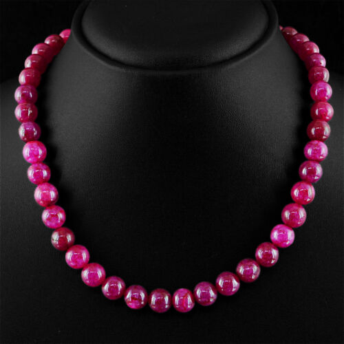 267.50 cts Earth mined Riche Rouge Rubis Forme Ronde Perles Single Strand Collier