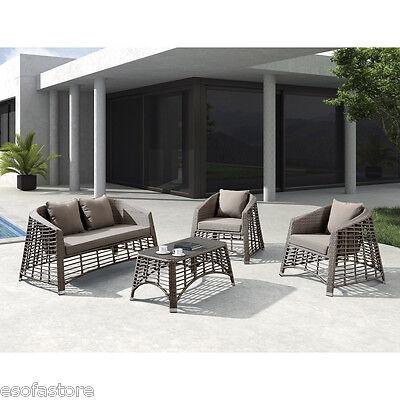 Modern 4 Pc Conversation Set Single & Double Sofa Coffee Table Outdoor Furniture