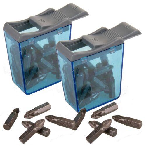 2 x Flip Top Packs 60 Silverline PZ2 Pozidriv Screwdriver Insert Bits CrV Pozi