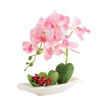 Orchid Plant Decoration Artificial Silk Flowers Arrangement (pink)
