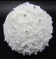 Wedding Bride/bridesmaid Handmade Bouquet Ivory Flower Rose Crystal White Ribbon