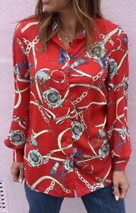 John-Zack-Blusa-Camisa-Top-en-Rojo-Cadena-de-impresion