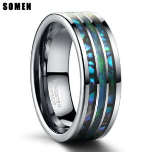 8MM-Polished-Matte-Abalone-Shell-Tungsten-Carbide-Ring-For-Men-039-s-Wedding-Band