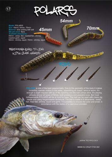 "6 leurres souples Polaris 4/"" CRAZY FISH 10cm  pêche streetfishing perche bass"