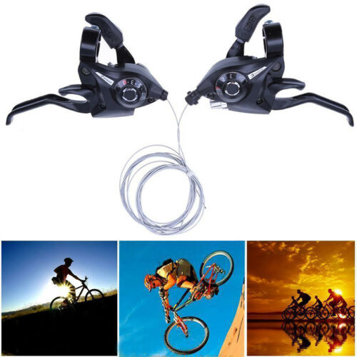 21Speed Bicycle Gear Shifter Brake MTB Bike Disc Brake Levers w// Shift Cable