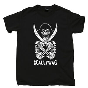 Scallywag-Pirate-T-Shirt-Barbe-Noire-Jolly-Roger-crane-de-mort-squelette-Tee