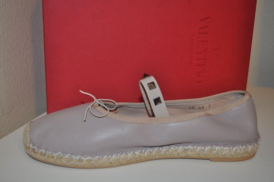 NIB Valentino Rockstud Leather Ballerina Ballet -6 Espadrille Flat Shoe Beige 36 -6 Ballet 9a0286