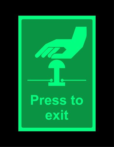 Photoluminescent Press to exit safety sign