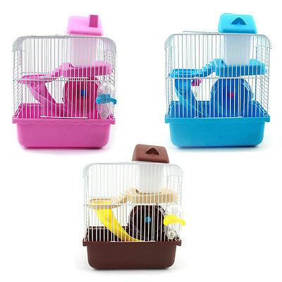 2 Floors Storey Hamster Cage Mouse house with slide disk spinning bottle BT
