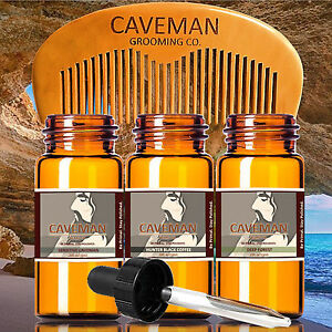 Hand Crafted Caveman® 3 Scents Mountain Beard Oil Beard Conditioner Free Comb To Make One Feel At Ease And Energetic Aftershave & Pre-shave